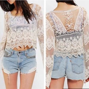 Staring at Stars Crochet Lace Long Bell Sleeve Top